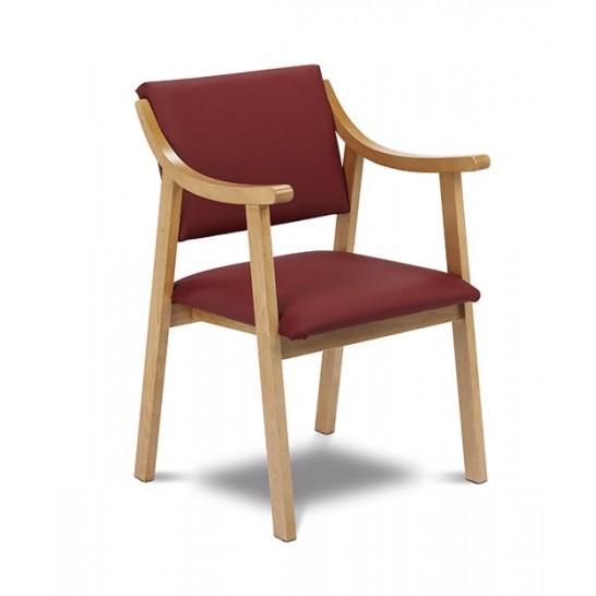 silla con reposabrazos madera